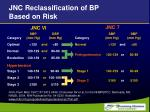 jnc reclassification of bp based on risk