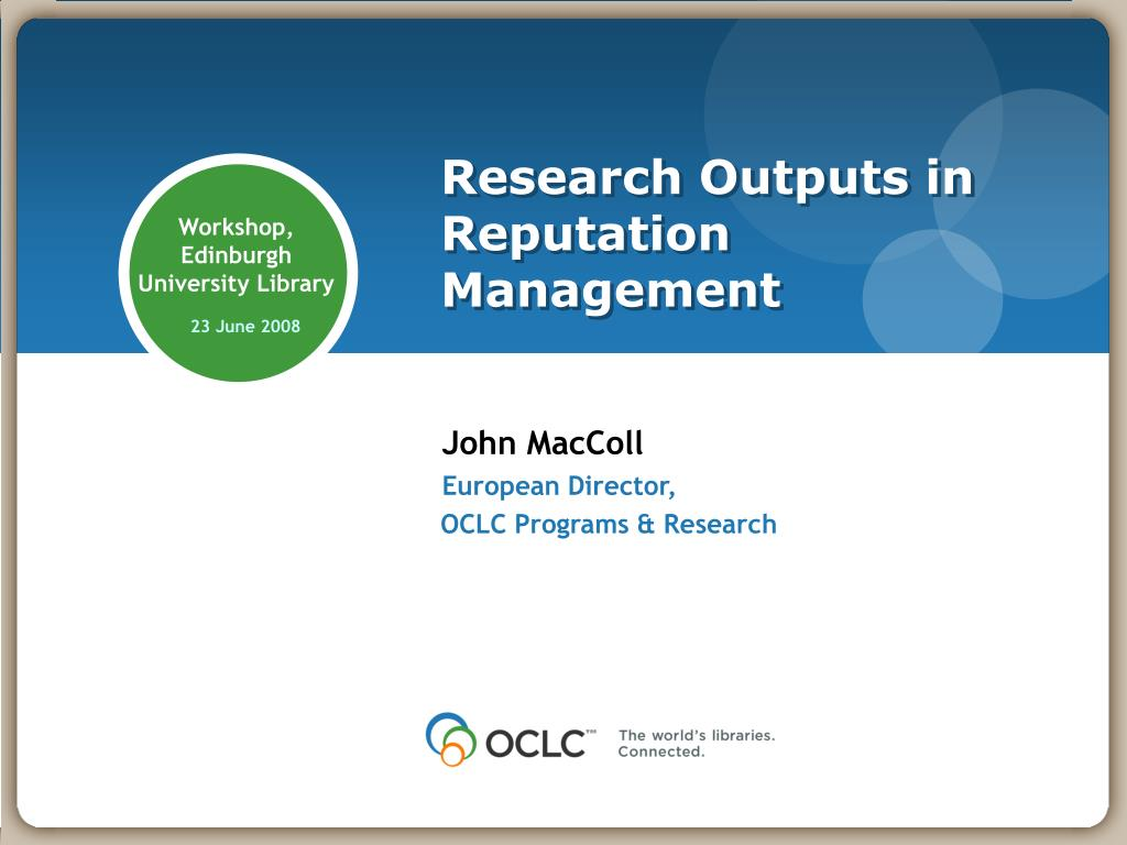 research outputs in reputation management l.