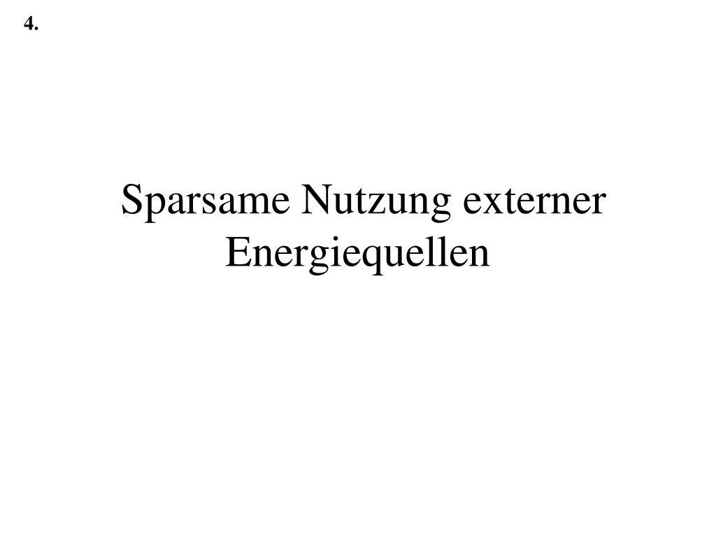 sparsame nutzung externer energiequellen l.