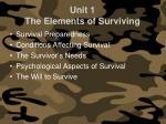 unit 1 the elements of surviving