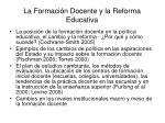 la formaci n docente y la reforma educativa