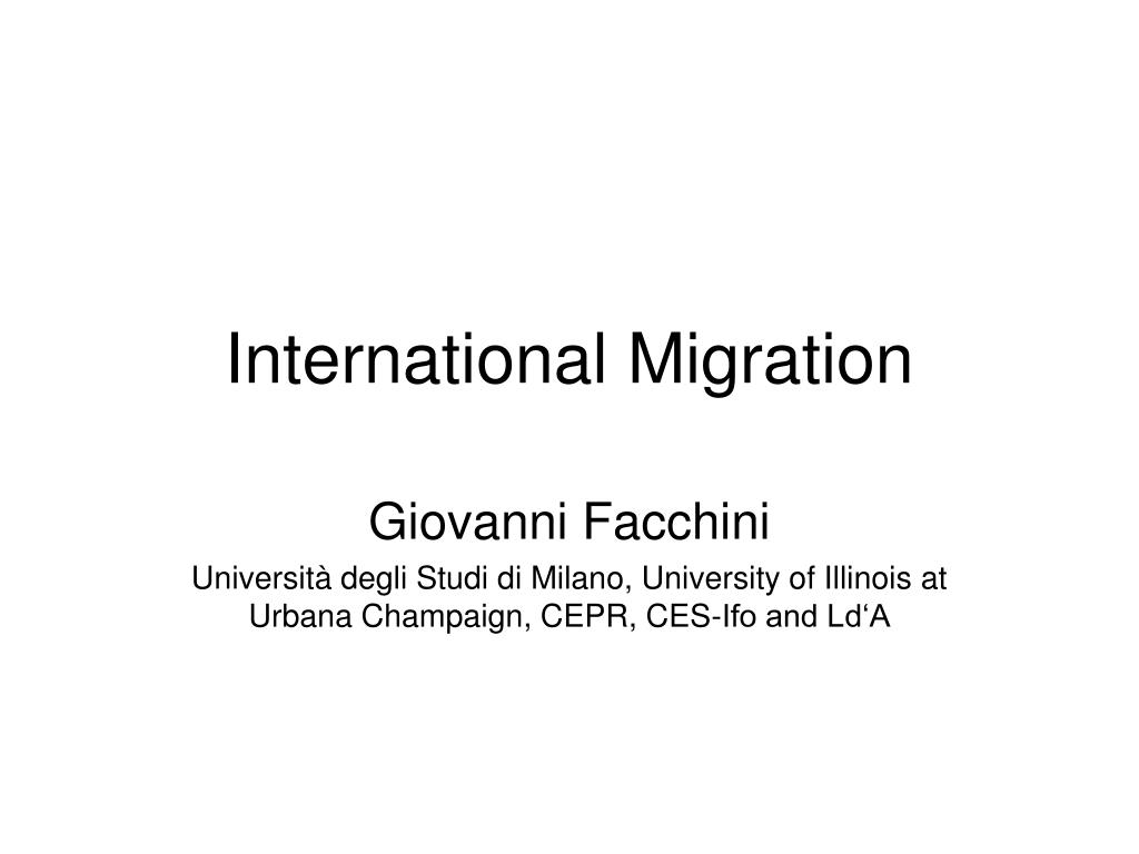 international migration l.