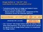 image motion or tip tilt also contributes to total wavefront error