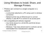 using windows to install share and manage printers