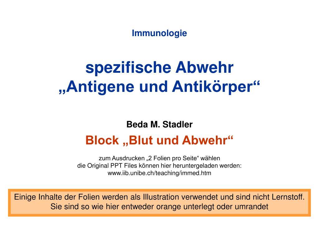 immunologie spezifische abwehr antigene und antik rper l.