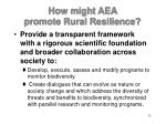 how might aea promote rural resilience