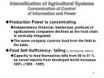 intensification of agricultural systems concentration of control of information and power43