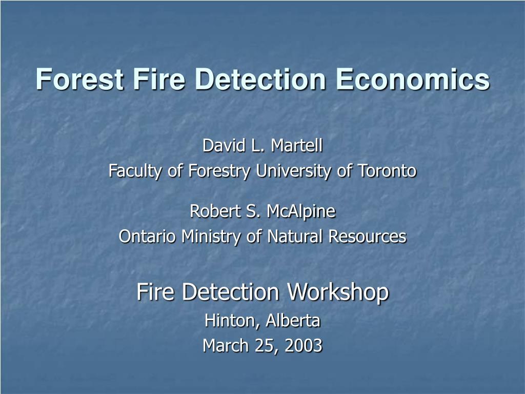 forest fire detection economics l.