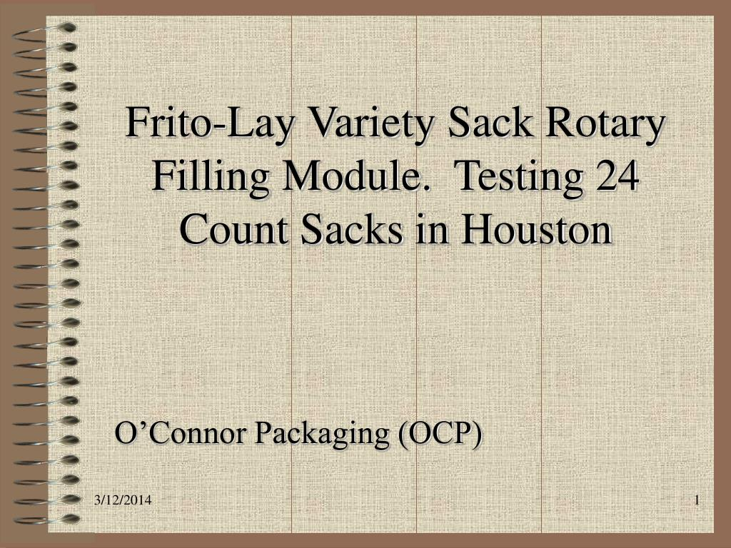 frito lay variety sack rotary filling module testing 24 count sacks in houston l.
