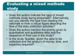 evaluating a mixed methods study19