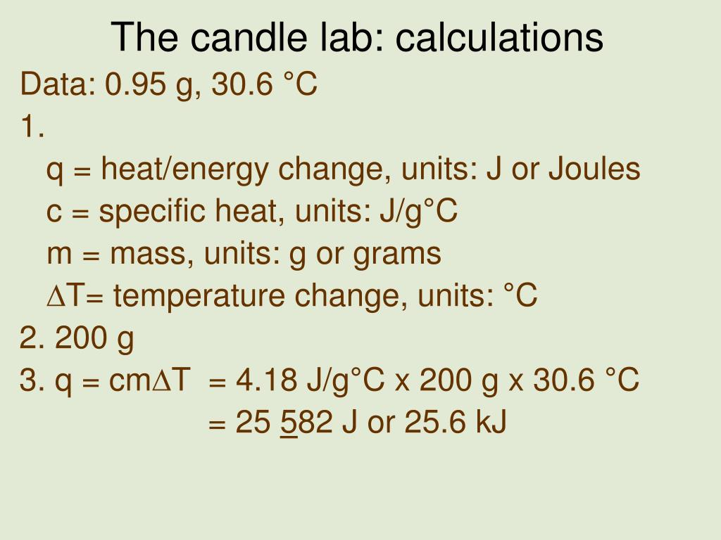 the candle lab calculations l.