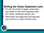 writing the vision statement cont