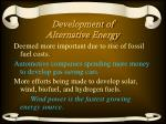 development of alternative energy