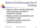 factors that discourage use of findings