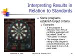 interpreting results in relation to standards