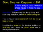 deep blue vs kasparov 1997