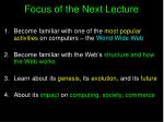 focus of the next lecture