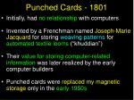 punched cards 1801