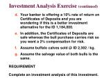 investment analysis exercise continued
