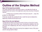 outline of the simplex method16