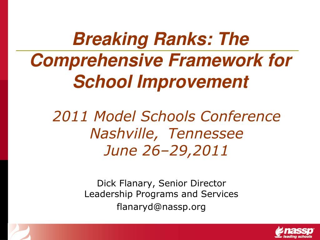breaking ranks the comprehensive framework for school improvement l.