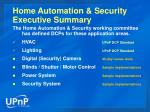 home automation security executive summary