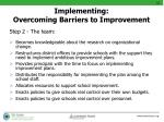 implementing overcoming barriers to improvement3