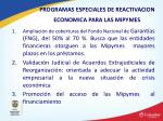 programas especiales de reactivacion economica para las mipymes