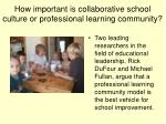 how important is collaborative school culture or professional learning community