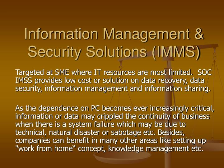 information management security solutions imms n.