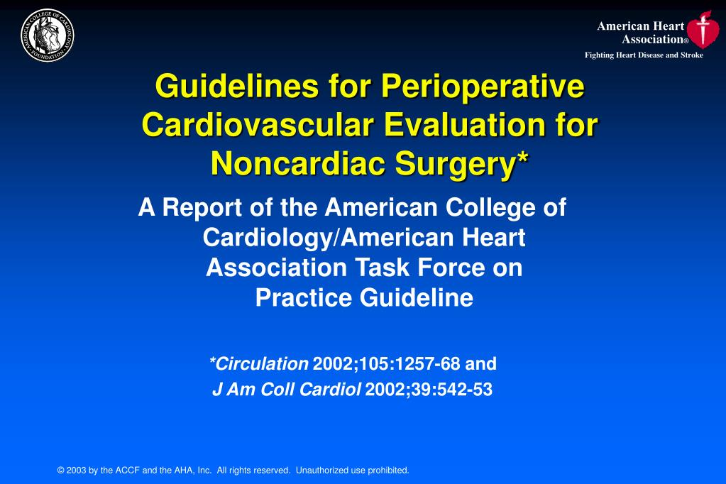 guidelines for perioperative cardiovascular evaluation for noncardiac surgery l.