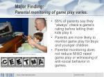 major finding parental monitoring of game play varies