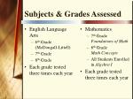 subjects grades assessed