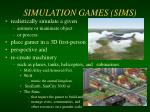 simulation games sims