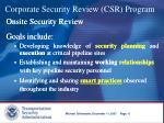 corporate security review csr program