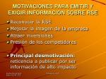 motivaciones para emitir y exigir informaci n sobre rse