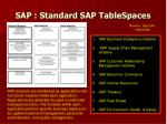sap standard sap tablespaces