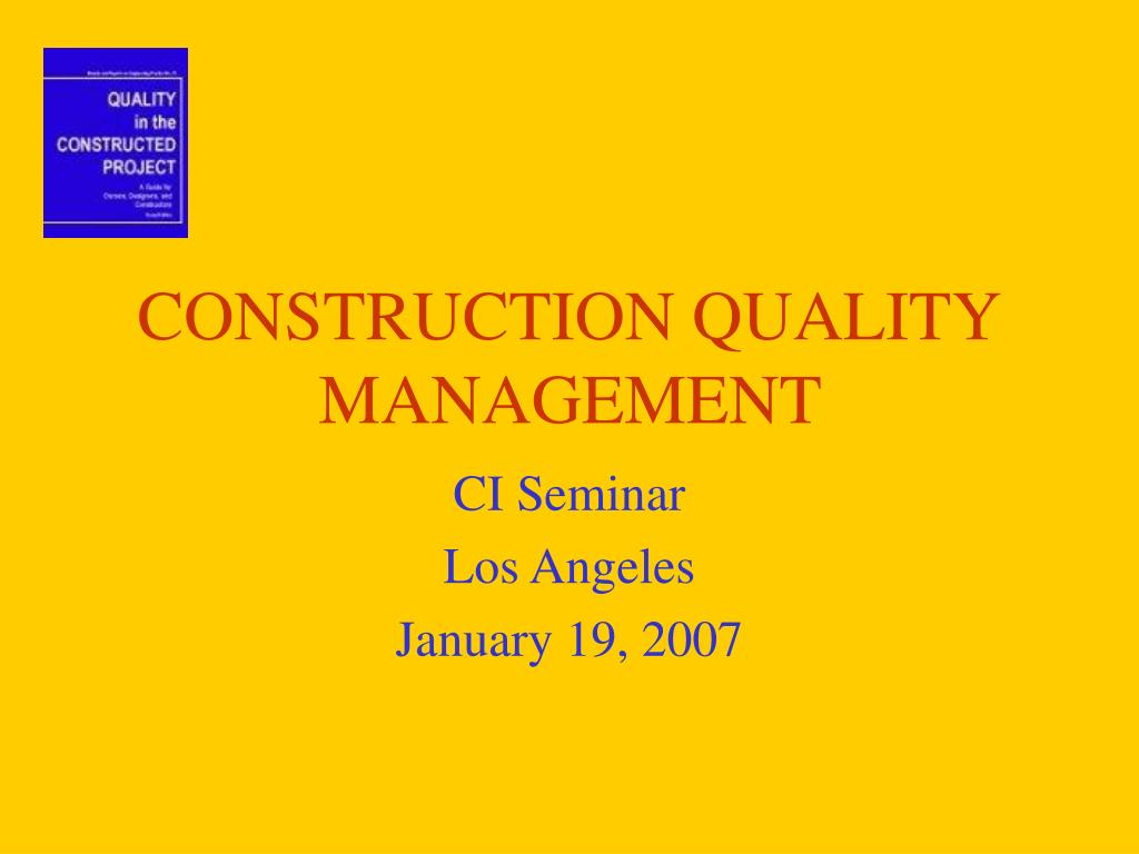 construction quality management l.