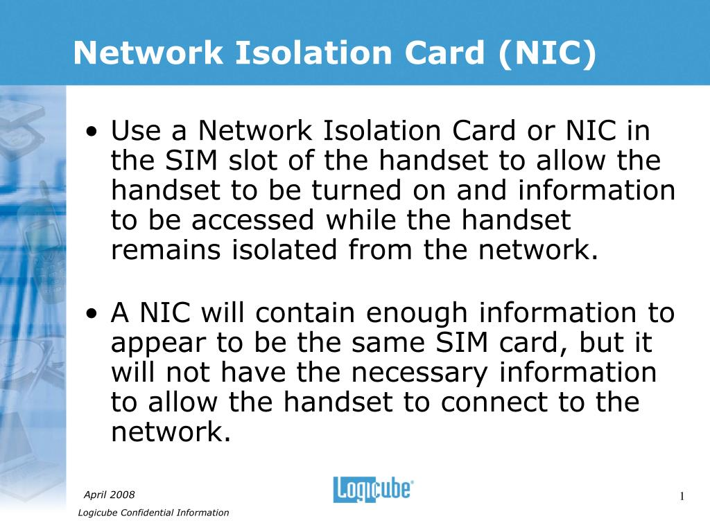 network isolation card nic l.