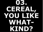03 cereal you like what kind