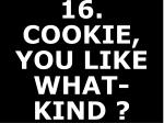16 cookie you like what kind