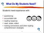 what do my students need