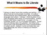 what it means to be literate