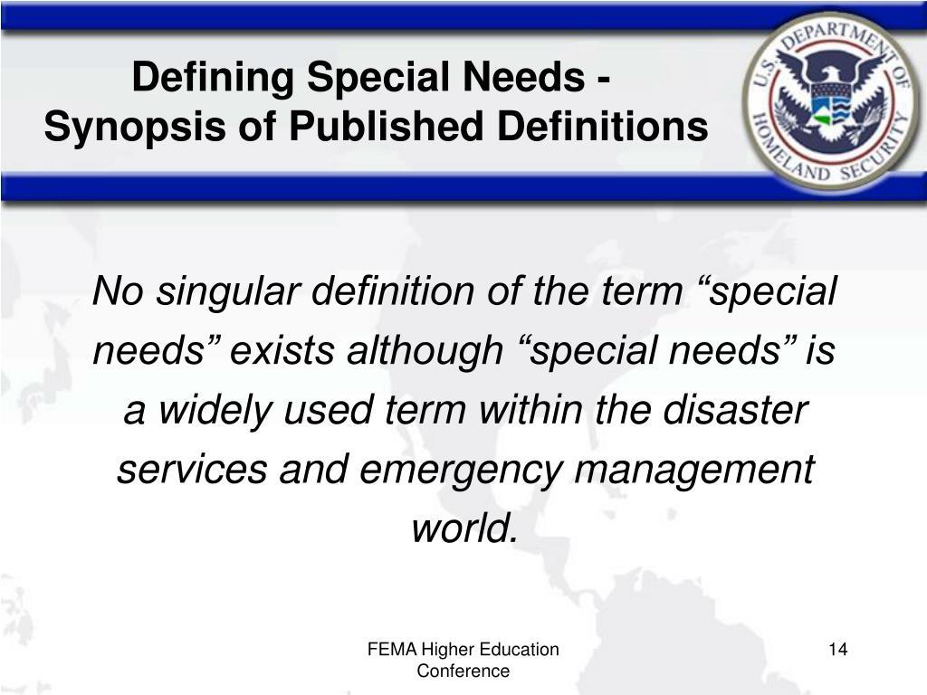 Defining Special Needs -