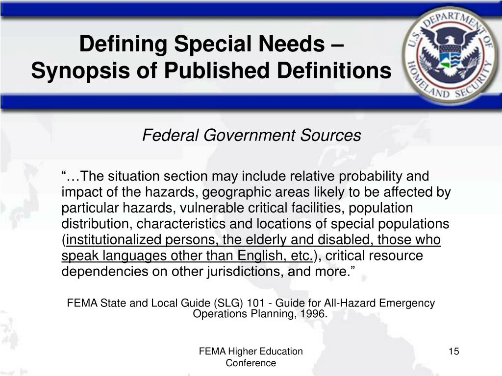 Defining Special Needs – Synopsis of Published Definitions