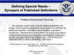 defining special needs synopsis of published definitions15