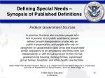 defining special needs synopsis of published definitions16