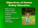 objectives of hunter safety education