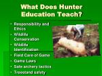 what does hunter education teach