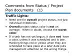 comments from status project plan documents 1